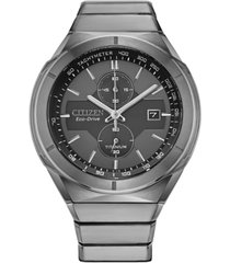 citizen eco-drive men's chronograph armor silver-tone titanium bracelet watch 42mm