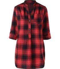 roll tab sleeve side slit tartan blouse