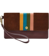fossil women's striped leather wristlet