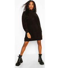 fleece zip high neck sweatshirt dress, black