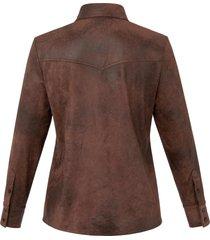 overhemd met lange mouwen van emilia lay bruin