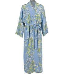 long peignoir silk coat - blue & yellow