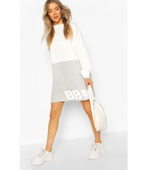 colour block slogan sweatshirt dress, white
