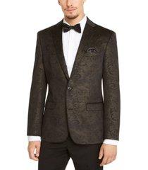 bar iii men's slim-fit black/gold paisley velvet sport coat, created for macy's
