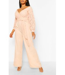 plus kanten wide leg jumpsuit met open schouders, blush