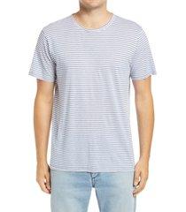 men's rag & bone air stripe linen blend men's t-shirt, size xx-large r - blue