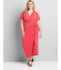lane bryant women's crossover side-drawstring maxi dress 30/32 azalea