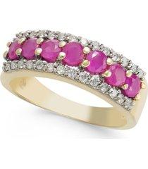 certified ruby (1-1/20 ct. t.w.) & diamond (1/4 ct. t.w.) ring in 14k gold