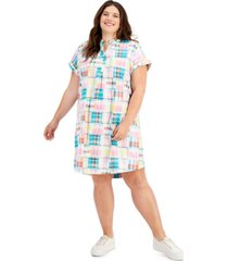 style & co plus size plaid print camp dress, created for macy's