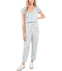 women's cece floral print jumpsuit, size 8 - blue
