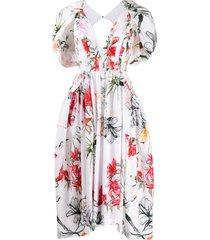 alexander mcqueen endangered flower poplin midi dress - white