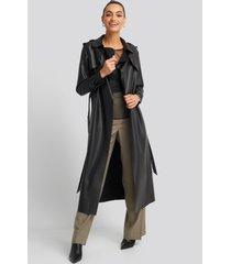 trendyol long pu coat - black