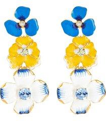 crystal embellished enamel flower drop earrings