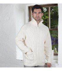 men's aran zipper cardigan cream small