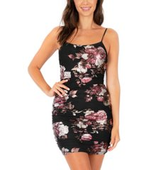 speechless juniors' mesh floral-print bodycon dress