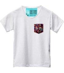 camiseta masculina algodão bolso estampa caveira manga curta - masculino