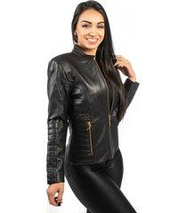 jaqueta de couro np couros com matelassê preto pelica
