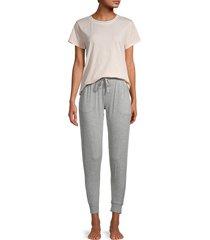 splendid women's 2-piece pajama set - beige grey - size xs