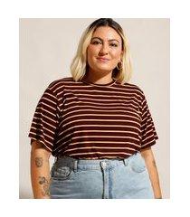 camiseta ampla listrada plus size manga curta decote redondo mindset vinho