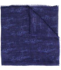 altea frayed-edged camouflage scarf - blue