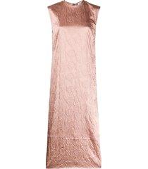acne studios flower-embossed satin midi dress - pink