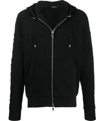 balmain embossed logo-panel zipped hoodie - black