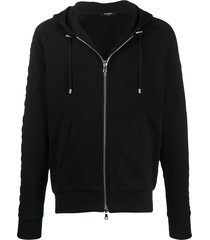 balmain embossed logo-panel zipped hoodie - black