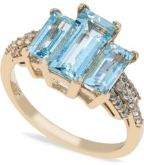 aquamarine (3 ct. t.w) diamond (1/2 ct. t.w.) ring in 14k yellow gold