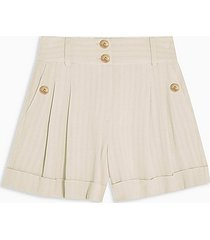 ivory stripe shorts with linen - ivory