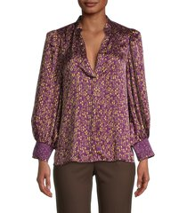 alice + olivia by stacey bendet women's sheila floral striped blouse - floral boysenberry - size s