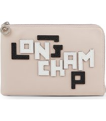 longchamp women's logo lettered leather pouch - pink