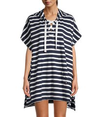 tommy hilfiger women's striped hooded coverup - navy white