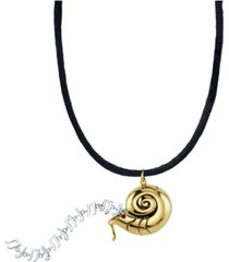 "rocklove disney's the little mermaid shell & notes silk cord pendant necklace in sterling silverr & 18k gold-plate, 16"" + 2"" extender"