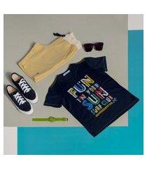 cm t-shirt c/silk c/ bermuda de moletom cm t-shirt c/silk c/ bermuda de moletom azul/amarelo 12