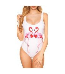 trendy zwempak-badpak met flamingo print wit