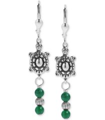 american west green aventurine turtle drop earrings in sterling silver
