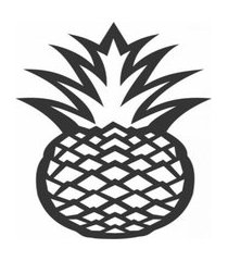 enfeite decorativo fruta abacaxi silhueta preto 43x25x1cm