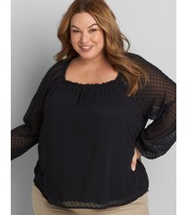 lane bryant women's clip-dot square-neck blouse 18/20 black