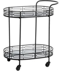 """glitzhome 30.75"""" h deluxe 2-tier metal oval mirrored bar cart"""