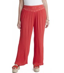 pantalon palazo con bordado rosa curvi