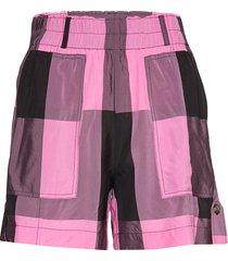 viscose check shorts flowy shorts/casual shorts rosa ganni