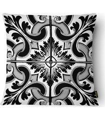 almofada decorativa realce 078 40x40cm branca e preta