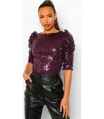 tall blouse met schoudervulling en pailletten, purple