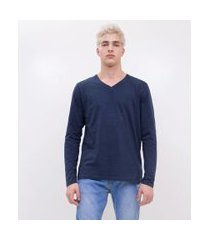 camiseta básica gola v | blue steel | azul escuro | m