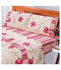 jogo de cama dourados enxovais requinte rosa solteiro percal 180 fios 03 peças