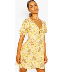 floral print tie front skater dress, yellow