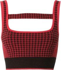 nagnata top esportivo pied-de-poule em lã merino mista - vermelho