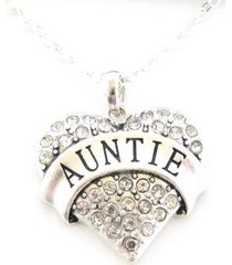 auntie clear crystal heart silver plated chain necklace jewelry family gift