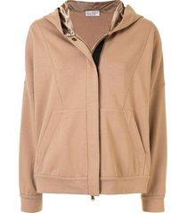 brunello cucinelli contrast zip-up hoodie - brown