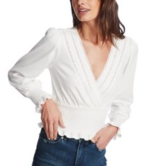 1.state smocked lace-trim top